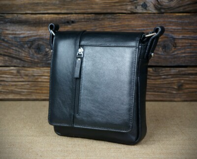 Men's leather messenger bag